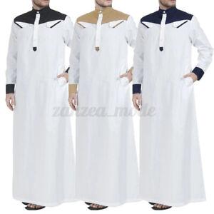 Men-Muslim-Long-Kaftan-Saudi-Arab-Islamic-Clothing-Long-Sleeve-Thobe-Robe-Dress