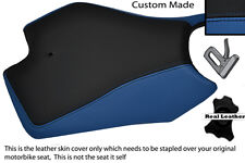 BLUE AND BLACK CUSTOM FITS APRILIA RS4 125 11-12 FRONT LEATHER SEAT COVER