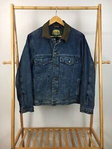 Cabela-039-s-Men-039-s-Blanket-Lined-Leather-Collar-Denim-Trucker-Jean-Jacket-Size-S