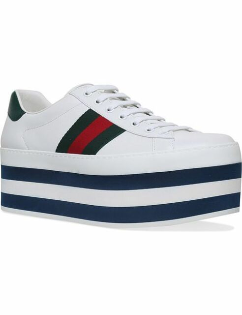 100% AUTHENTIC NEW MEN GUCCI NEW ACE WHITE PLATFORM SNEAKERS UK 7/US 8