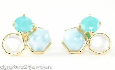 IPPOLITA 18K Yellow Gold Rock Candy 3 Stone Turquoise Float Stud Post Earrings