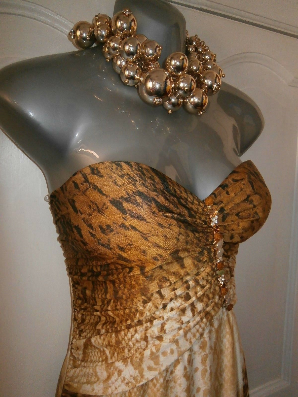 Ladies brown coloured strapless summer maxi dress one size 10-14