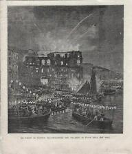 Stampa antica NAPOLI Palazzo Donn'Anna veduta notturna 1894 Old antique print