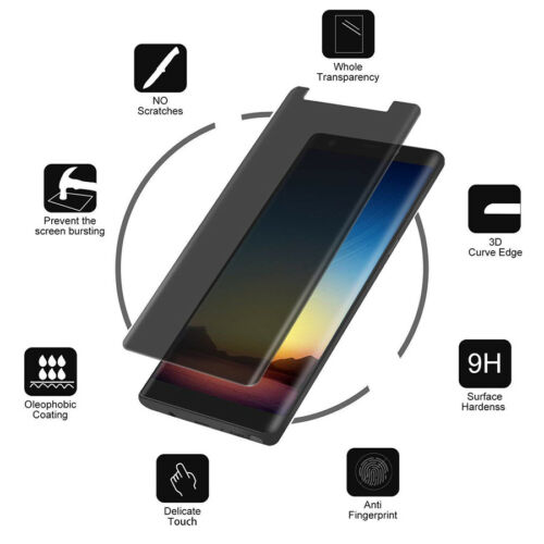 Anti-Spy Privacy Curved Tempered Glass Protector For SAMSUNG Galaxy S9 S8 Note 9