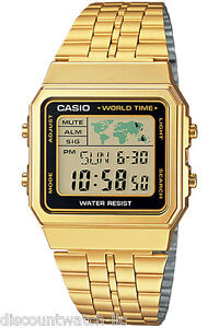 Casio-A500WGA-1D-World-Time-Digital-Stainless-Steel-Watch-WORLD-MAP-Gold-NEW