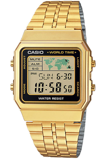 Casio a500wga 1d world time digital stainless steel watch world map casio a500wga 1d world time digital stainless steel watch world map gold new gumiabroncs Images