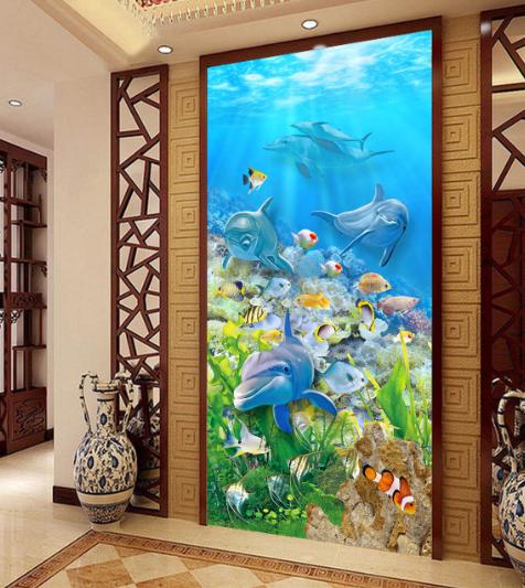 3D Dolphin Ozean 78 Fototapeten Wandbild Wandbild Wandbild Fototapete Bild Tapete Familie Kinder | Haltbarkeit  5d6bc7