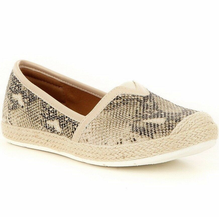 MONTANA womens SOTO Jute Trim SNAKE EMBOSSED SLIP ON Espadrilles SHOES Beige 7.5