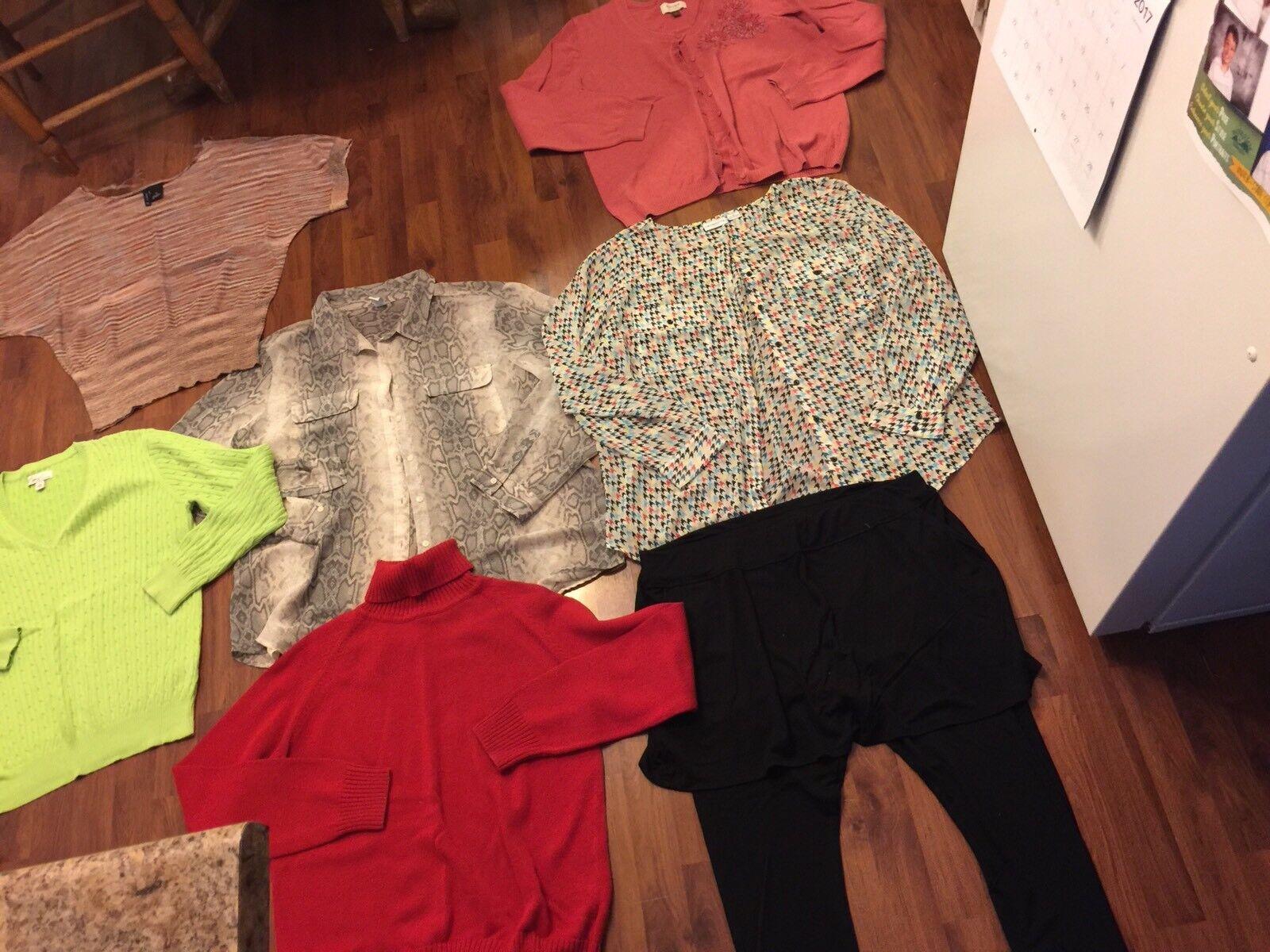 Womens Size Xl 1x Shirt Sweater Skort Lot Long Sleeve Winter