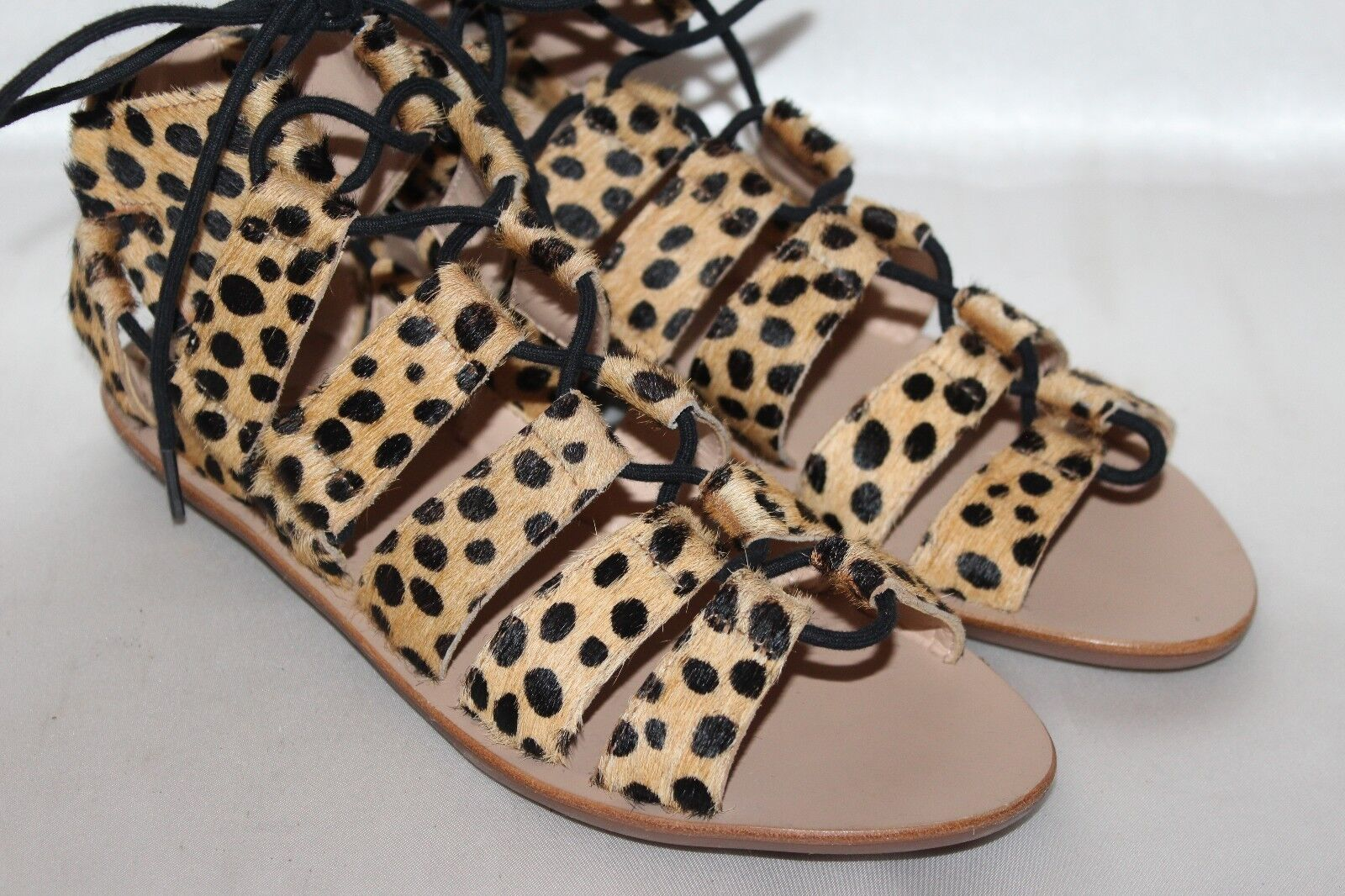 NEW  JOIE Leopard Caged Calf Hair Leder SKYE Caged Leopard Lace Up Gladiator Sandales 6 250 f765f0