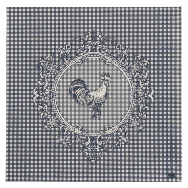 "GINGHAM BLUE WHITE ROOSTER 3-PLY 20 PAPER NAPKINS SERVIETTES 13""x13"" - 30X30CM"
