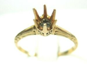 Antique-Art-Deco-Mounting-Setting-Hold-5-MM-14K-Yellow-Gold-Ring-Size-7-UK-N1-2