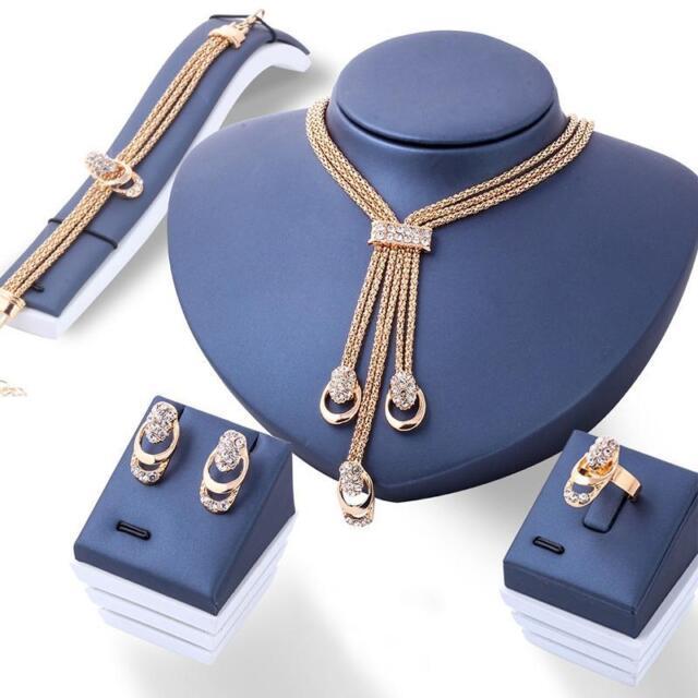 18K Gold Plated Crystal Necklace Bracelet Ring Earrings Tassel Jewelry Set JZ