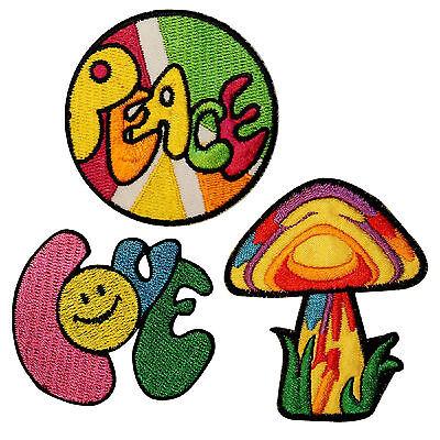 3 Set: Peace Sign Love & Mushroom Tie-Dye Color Hippie Iron-On Applique Patches