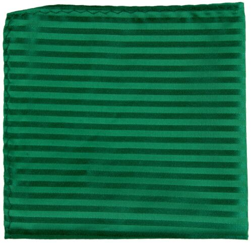 New Men Poly Woven pocket square hankie only emerald green tone on tone stripes