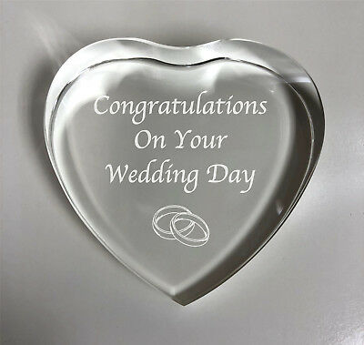 Personalised Engraved Glass Heart Paperweight Wedding Engagement Congratulations