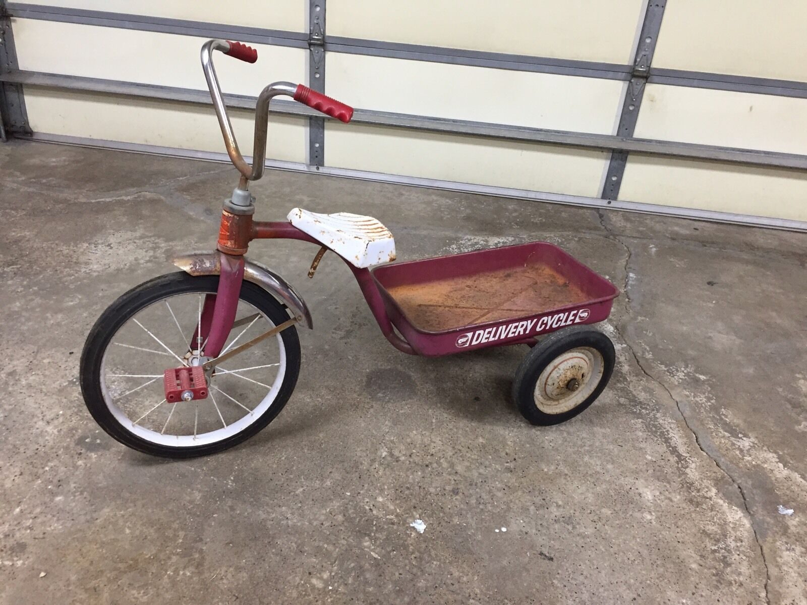 Vintage Original Garton Delivery Cycle Tricycle Tricycle Tricycle Wagon   Pedal Car - Rare  1df115