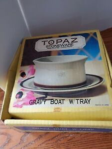 Topaz Stoneware vintage Gravy Boat With Tray Hand Painted New Japan