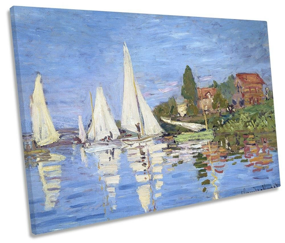 Claude Monet Regattas at Silbereui SINGLE CANVAS WALL ART Print