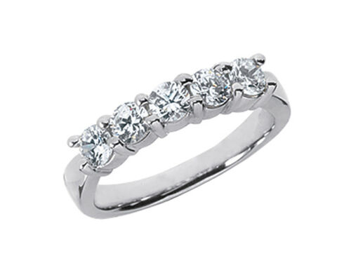 5Stone 1.00ct Diamond Wedding Band Ring Platinum Round Brilliant Cut H SI2 Prong