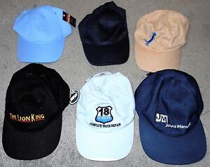 LOT of 6 Adult Ballcaps Lion King, Geicko etc. NWT & NEW (LOT 2457)