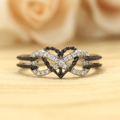 925 Sliver Women Jewelry White Topaz Infinity Heart Wedding Ring Gift Size 6-10