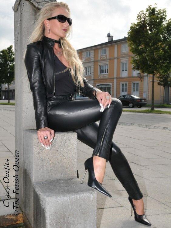 Lederhose Leder Hose black Knalleng mit Gürtel Größe 32 - 58 XS - XXXL