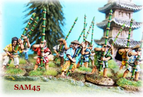 28mm SAM45 Peasants with Bamboo Poles x 12 16th Century Samurai