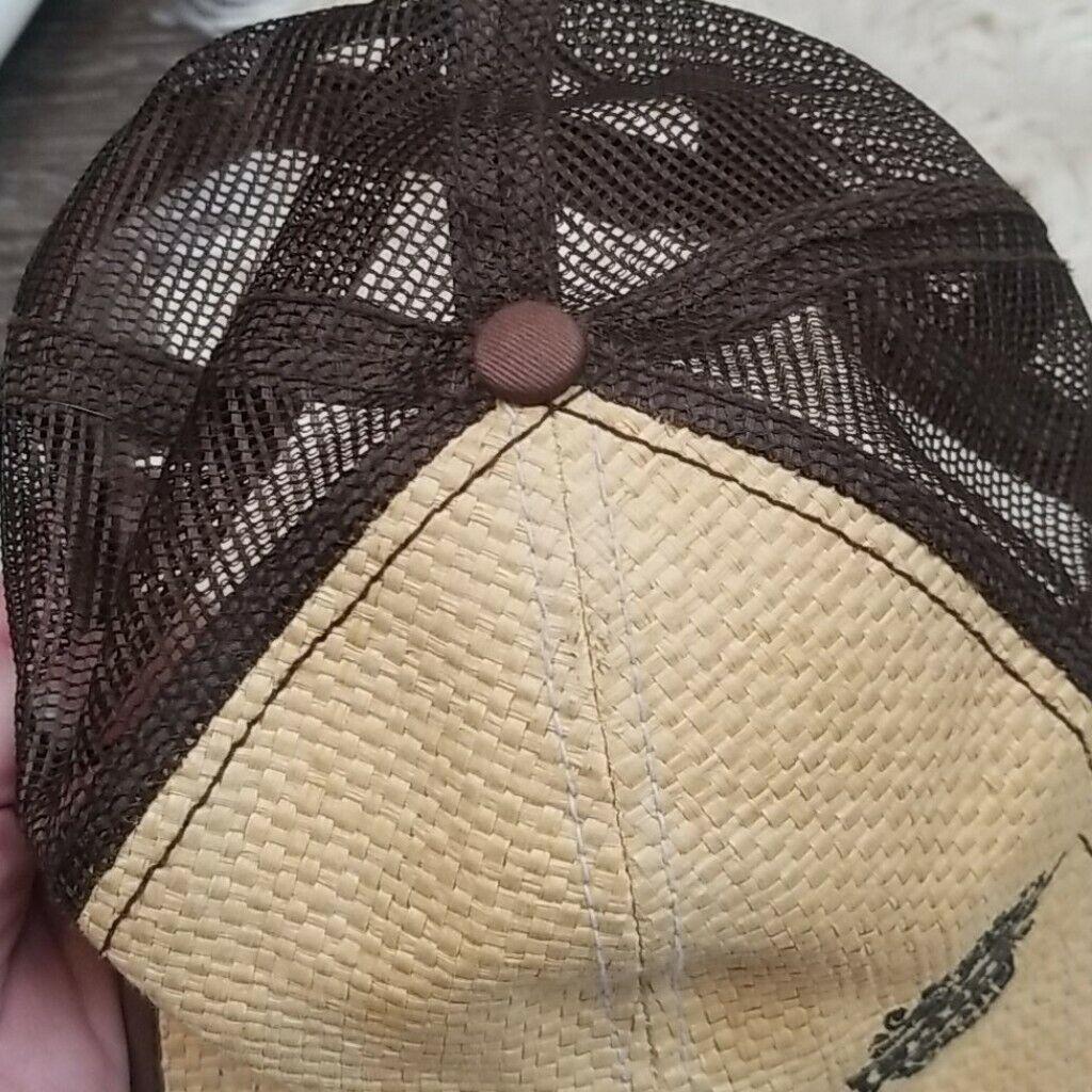 Cruzan Rum Bamboo Wicker Mesh Straw Style Hat Cap - image 9