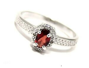 Genuine-Garnet-Ring-with-Diamonds-Sterling-Silver-0-5-carats-Size-7-75