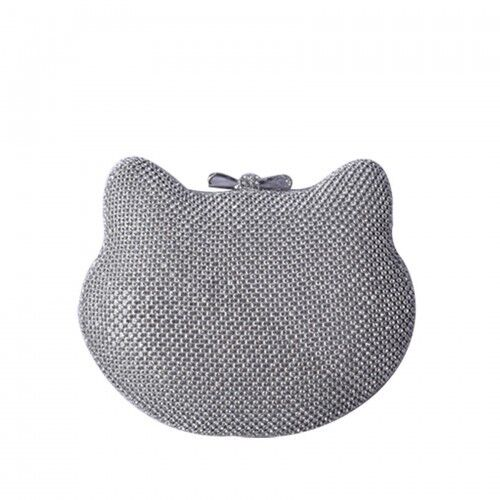 Ladies Diamante Box Cat Shaped Handbag Glitter Cocktail Clutch Evening Bag MMX46