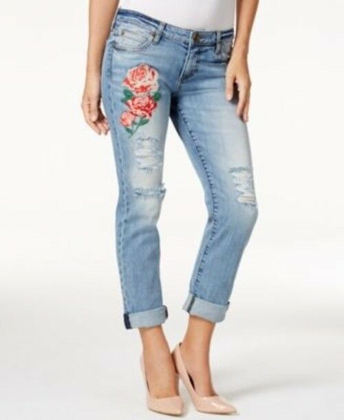 4 Kut From The Kloth Catherine Embroidered Boyfriend Denim Jeans Blue Floral $99