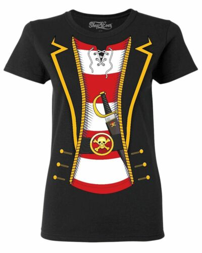Pirate Buccaneer Striped Skull Costume Women/'s T-Shirt Jolly Roger Shirts