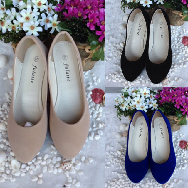 Women' s Lady's Suede Shoes Slippers Loafers Moccasins Ballet Slip-on Flats Fad