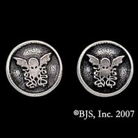Hp Lovecraft Sterling Silver Cthulhu Stud Earrings, Necronomicon Elder God Round
