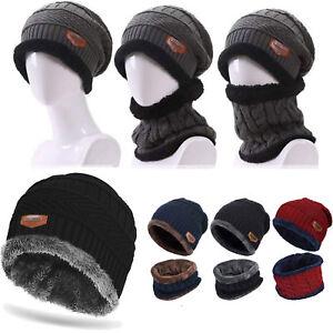 a84dc30d58d Details about Men Women Winter Warm Crochet Knit Baggy Beanie Skull Hat Ski  Cap Scarf Set Gift