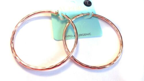 CLIP-ON HOOP EARRINGS 2.25 INCH SILVER GOLD OR ROSE GOLD TONE HYPO-ALLERGENIC