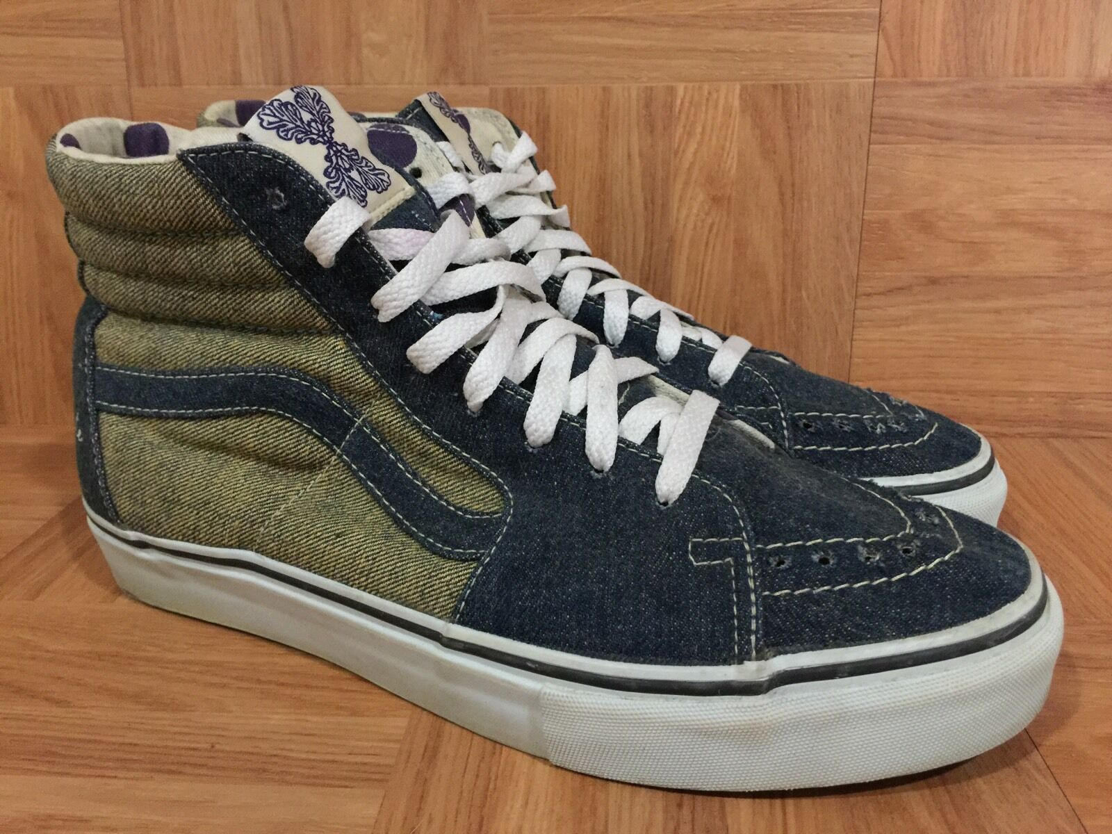 RARE VANS SK8-Hi Loomstate 100% Organic Cotton Washed Denim Sz 9 Nature Calls