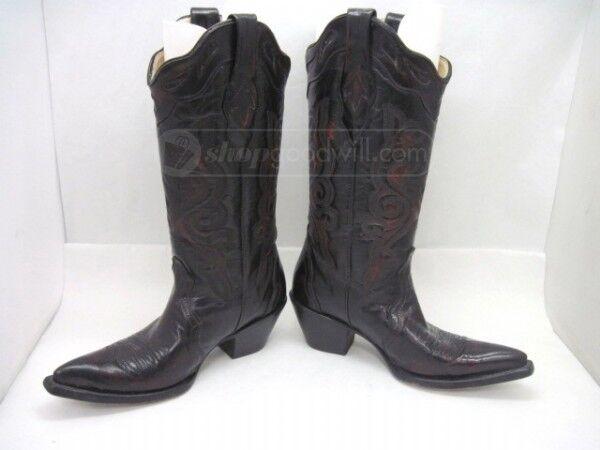 Excelente condición usada Corral Cereza Negra Piel De Cabra occidental de cuero botas de Vaquero 6M