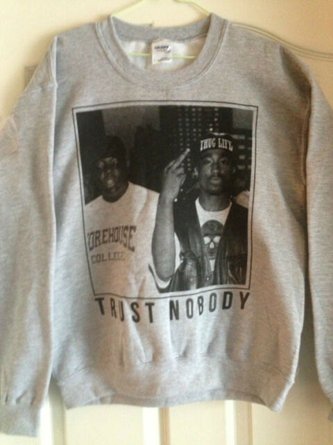 Tupac Gray Sweatshirt Crew Hoodie 2pac Biggie Trust Nobody Unisex Adult Hip Hop