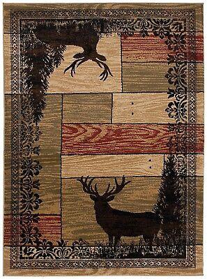 Whitetail Woods Round Area Rug Runner Lodge Cabin Deer Buck Doe Matching Set
