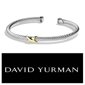 Image Is Loading David Yurman X Bracelet 4mm With 18k Gold