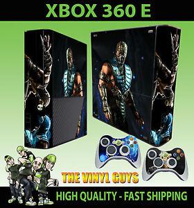 Xbox 360 E Sub Zero Mortal Kombat X Ice Ninja Sticker Skin 2 Pad