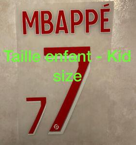 Flocage Nameset MBAPPE #7 PSG 2020-2021 Home Domicile. Ligue 1 Taille Enfant