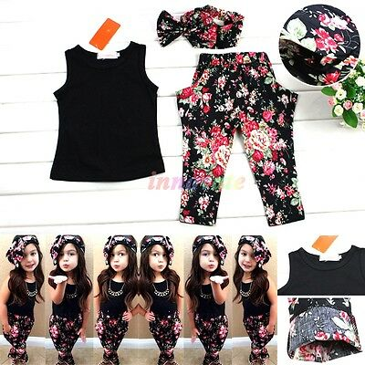 Fashion Kids Baby Girls Summer Clothing Floral Headband+Black Vest+Pant Sets NEW