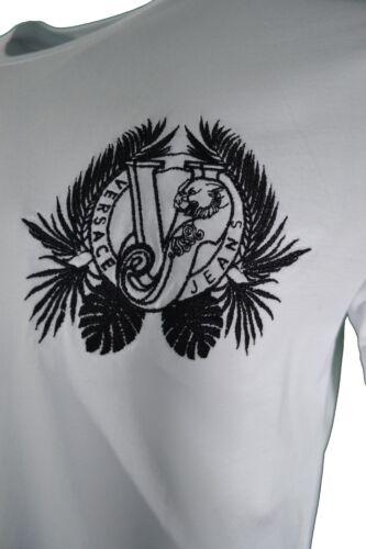 BNWT VERSACE JEANS WHITE /& BLACK EMBROIDERED LEAF VJ TIGER CHEST LOGO T-SHIRT