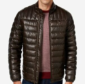 Tommy Hilfiger Men S Quilted Faux Leather Puffer Jacket