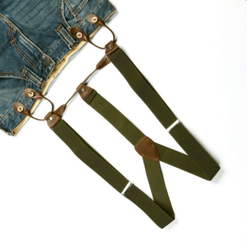 New Mens Pickle Green Adjustable Suspenders Braces 3.5 CM Width 6 Buttons BD703