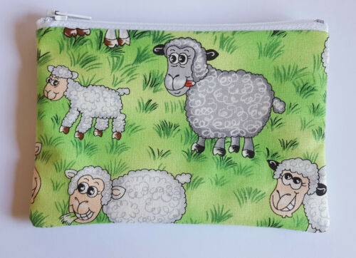 Funny Farm Sheep Fabric Handmade Zippy Coin Purse Storage Pouch