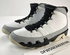 36b730a91d4 Air Jordan Retro 9 Barons Men Size 12 White Black Wolf Grey 302370 ...